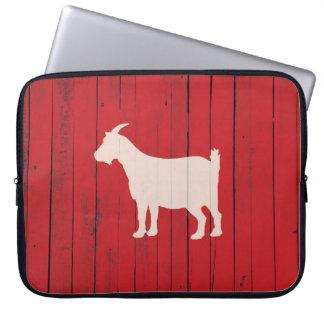 Housse Pour Ordinateur Portable Chèvre en bois rustique blanche et rouge de pays
