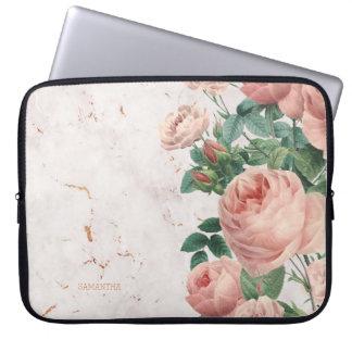 Housse Pour Ordinateur Portable Coutume de marbre florale de roses roses vintages