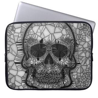 Housse Pour Ordinateur Portable Crâne en verre de mosaïque, blanc noir