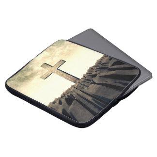 Housse Pour Ordinateur Portable Croix chrétienne sur la montagne