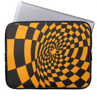 Housse Pour Ordinateur Portable Damier jaune et noir déformé