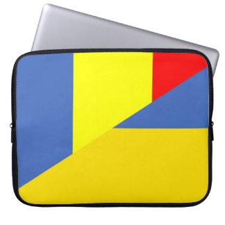 Housse Pour Ordinateur Portable de symbole de pays de drapeau de la Roumanie