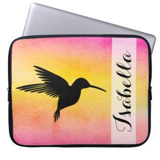 Housse Pour Ordinateur Portable Douille texturisée pour aquarelle de colibri