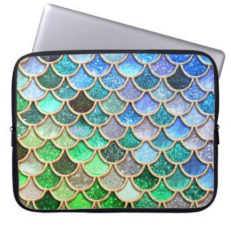 Housse Pour Ordinateur Portable Échelles brillantes vert-bleu de sirène de parties