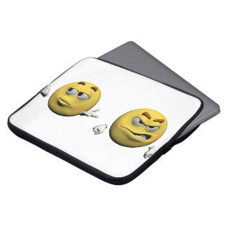 Housse Pour Ordinateur Portable Émoticône fâchée jaune ou smiley