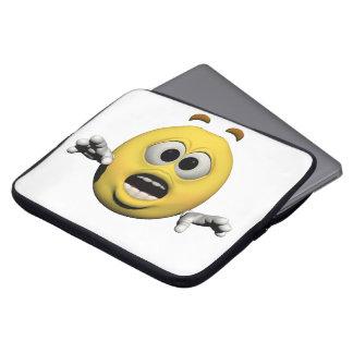 Housse Pour Ordinateur Portable Émoticône jaune ou smiley de crainte