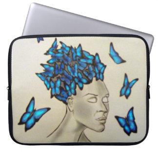 Housse Pour Ordinateur Portable femme aux papillons