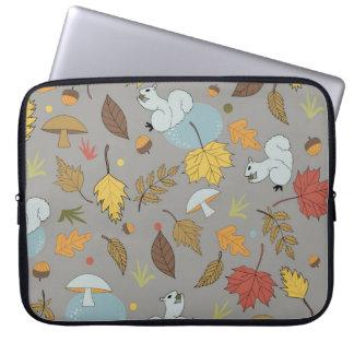 Housse Pour Ordinateur Portable Feuille d'automne sur le gris