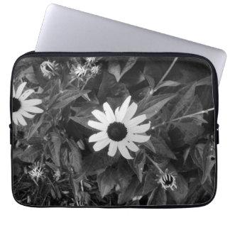 Housse Pour Ordinateur Portable Fleur classique noire et blanche