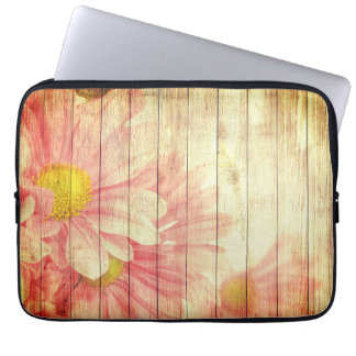 Housse Pour Ordinateur Portable Fleurs de marguerite avec la texture en bois