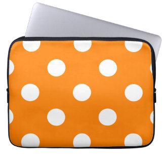 Housse Pour Ordinateur Portable Grand pois - blanc sur l'orange