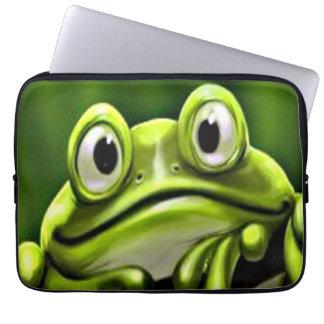 Housse Pour Ordinateur Portable Grenouille verte mignonne drôle adorable dans
