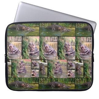 Housse Pour Ordinateur Portable Hippopotames dans un collage de photo,
