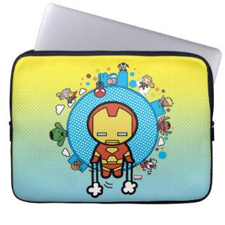 Housse Pour Ordinateur Portable Homme de fer de Kawaii avec des héros de merveille