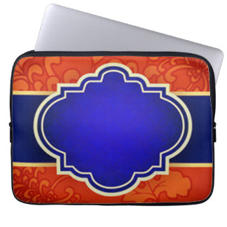 Housse Pour Ordinateur Portable Impression florale rouge et Quatrefoil bleu