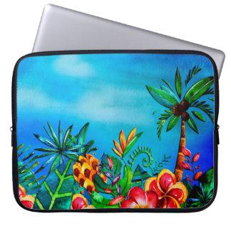 Housse Pour Ordinateur Portable Jungle colorée exotique de fleur - Aloha
