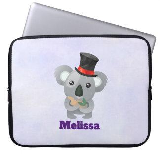 Housse Pour Ordinateur Portable Koala mignon dans un casquette supérieur noir
