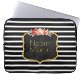 Housse Pour Ordinateur Portable Le blanc moderne de noir de monogramme barre l'or