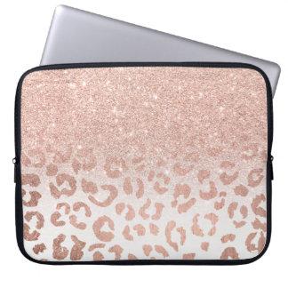 Housse Pour Ordinateur Portable Léopard rose d'ombre de scintillement d'or de faux