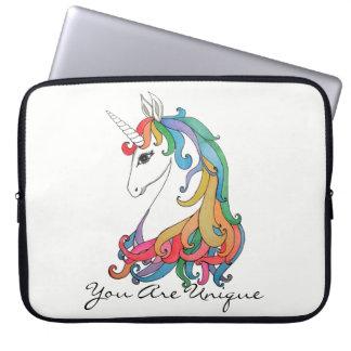 Housse Pour Ordinateur Portable Licorne mignonne d'arc-en-ciel d'aquarelle