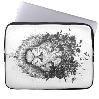 Housse Pour Ordinateur Portable Lion floral (noir et blanc)