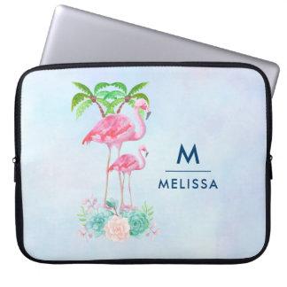 Housse Pour Ordinateur Portable Mamans et bébé roses de flamant avec des palmiers