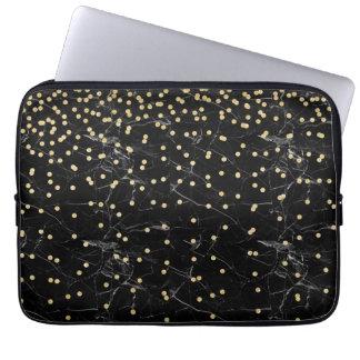 Housse Pour Ordinateur Portable marbre élégant de noir de confettis de parties
