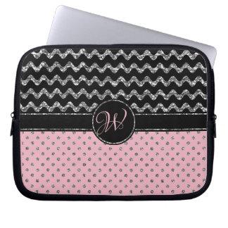 Housse Pour Ordinateur Portable Monogramme argenté rose Girly de Chevron de noir