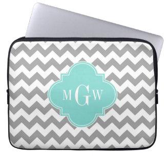 Housse Pour Ordinateur Portable Monogramme blanc gris de Quatrefoil 3 d'Aqua de