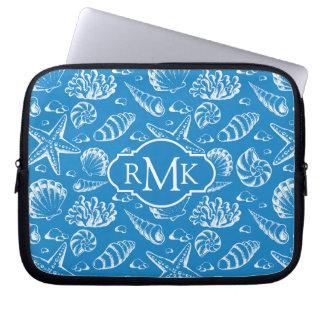 Housse Pour Ordinateur Portable Monogramme bleu du motif | de plage