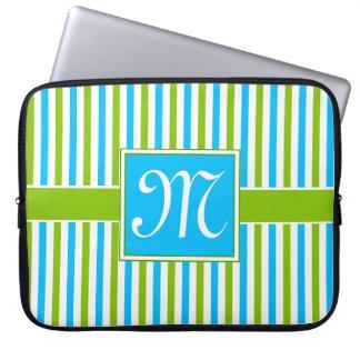 Housse Pour Ordinateur Portable Monogramme bleu et vert coloré de motif de rayure