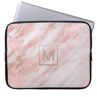 Housse Pour Ordinateur Portable monogramme élégant girly sur le marbre rose d'or