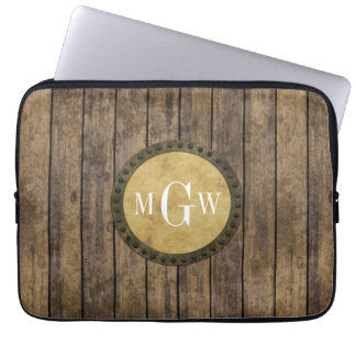 Housse Pour Ordinateur Portable Monogramme en bois rustique des planches #1