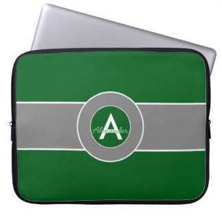 Housse Pour Ordinateur Portable Monogramme gris vert-foncé personnalisé