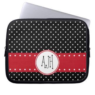 Housse Pour Ordinateur Portable Monogramme - pois, motif pointillé - noir