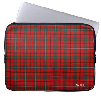 Housse Pour Ordinateur Portable Monogramme rouge et vert de tartan de Scott de