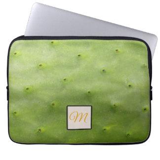 Housse Pour Ordinateur Portable Monogramme vert tropical botanique de photo de