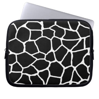 Housse Pour Ordinateur Portable Motif animal d'impression noir et blanc de girafe