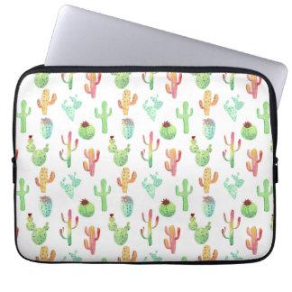 Housse Pour Ordinateur Portable Motif en pastel d'aquarelle de cactus