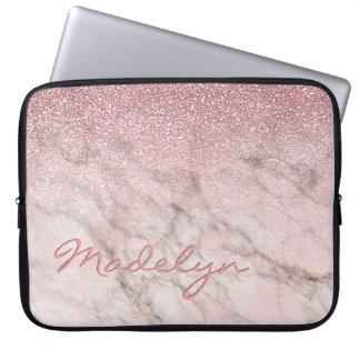 Housse Pour Ordinateur Portable Motif rose de marbre gris blanc de parties