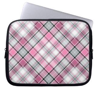 Housse Pour Ordinateur Portable Motif rose de plaid chic