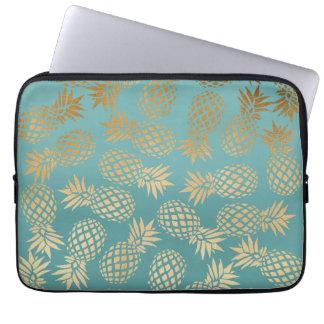 Housse Pour Ordinateur Portable motif tropical d'ananas d'or élégant de faux