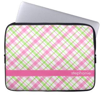 Housse Pour Ordinateur Portable Motif vert et rose de plaid