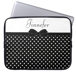 Housse Pour Ordinateur Portable Noir blanc Papillon de polka de Tendy personnalisé