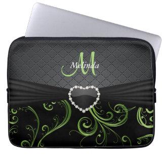 Housse Pour Ordinateur Portable Noir élégant et motif floral vert de Peridot