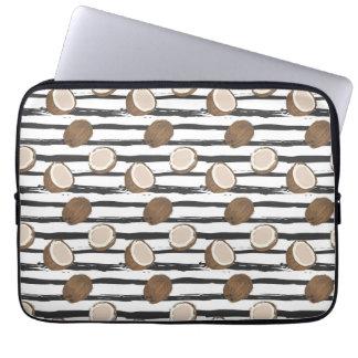 Housse Pour Ordinateur Portable Noix de coco sur le motif grunge de rayures