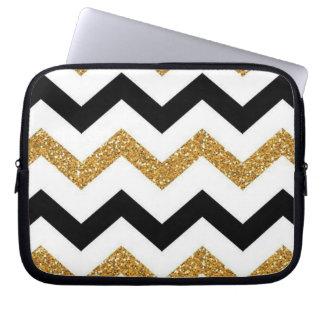 Housse Pour Ordinateur Portable or, douille noire et blanche d'ordinateur portable