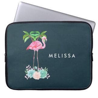 Housse Pour Ordinateur Portable Palmiers roses de flamant et Succulents floraux