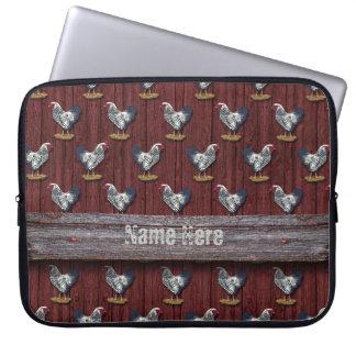 Housse Pour Ordinateur Portable Panneaux de grange de coqs de Wyandotte lacés par