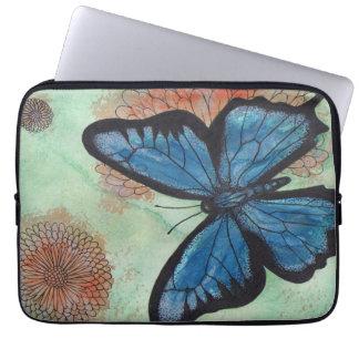 Housse Pour Ordinateur Portable Papillon de bleu d'aquarelle